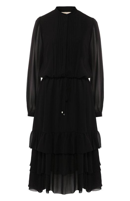 Купить Платье-миди с оборками и воротником-стойкой MICHAEL Michael Kors, MF88Y1T4ZB, Китай, Черный, Полиэстер: 100%;