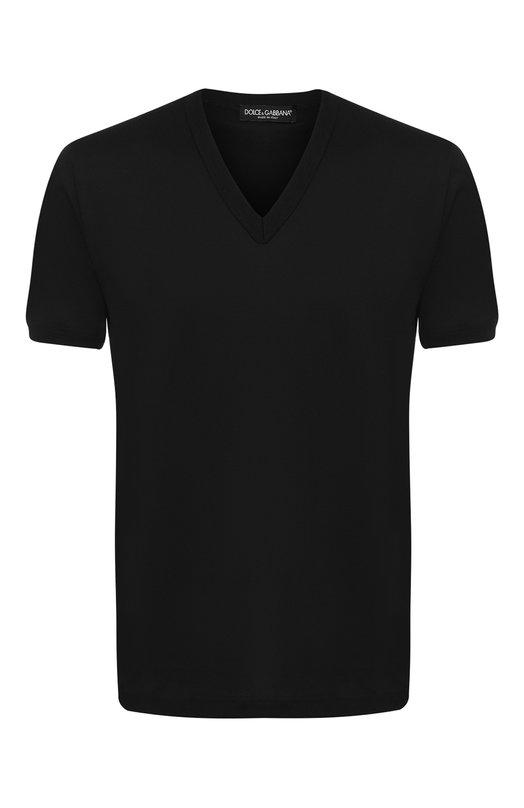 Купить Хлопковая футболка с V-образным вырезом Dolce & Gabbana, G8HL7T/FU7EQ, Италия, Черный, Хлопок: 100%;