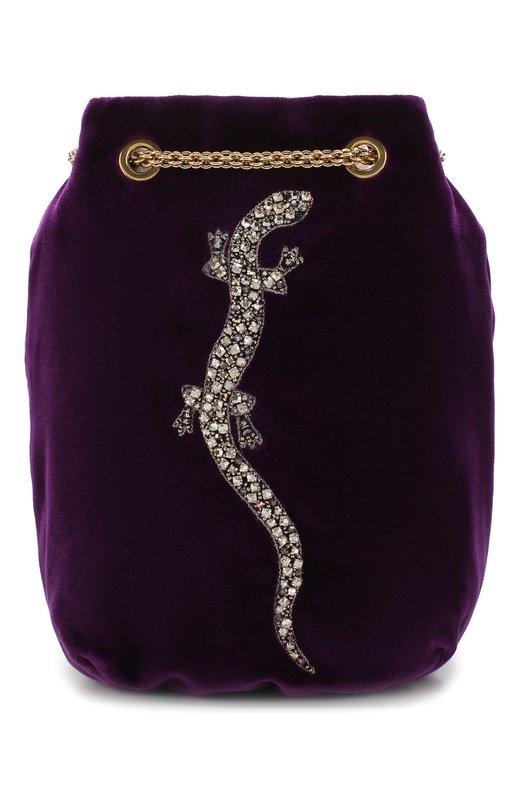 Купить Сумка из бархата с вышивкой Ralph Lauren, 435728743, Италия, Фиолетовый, Текстиль: 100%;