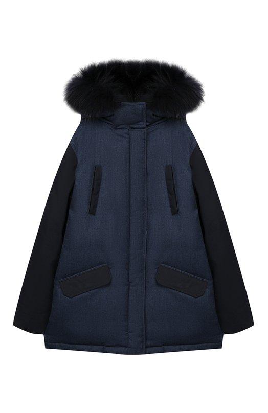 Шерстяная куртка с меховой отделкой на капюшоне Yves Salomon Enfant