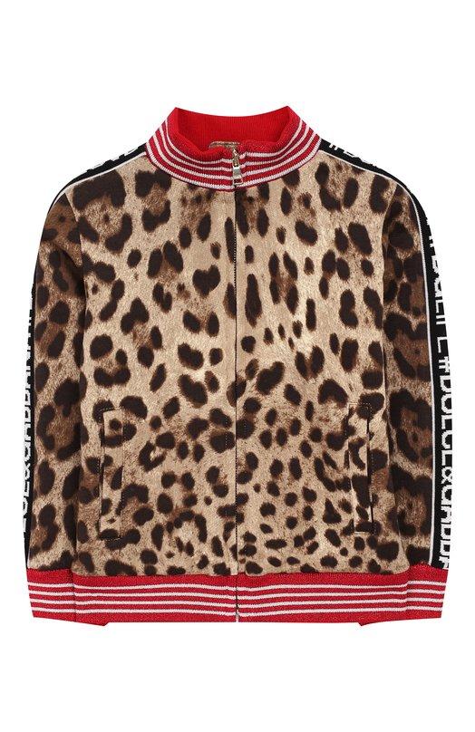 Купить Хлопковый кардиган на молнии с воротником-стойкой Dolce & Gabbana, L5JWT2/G7QEN/2-6, Италия, Коричневый, Хлопок: 100%;