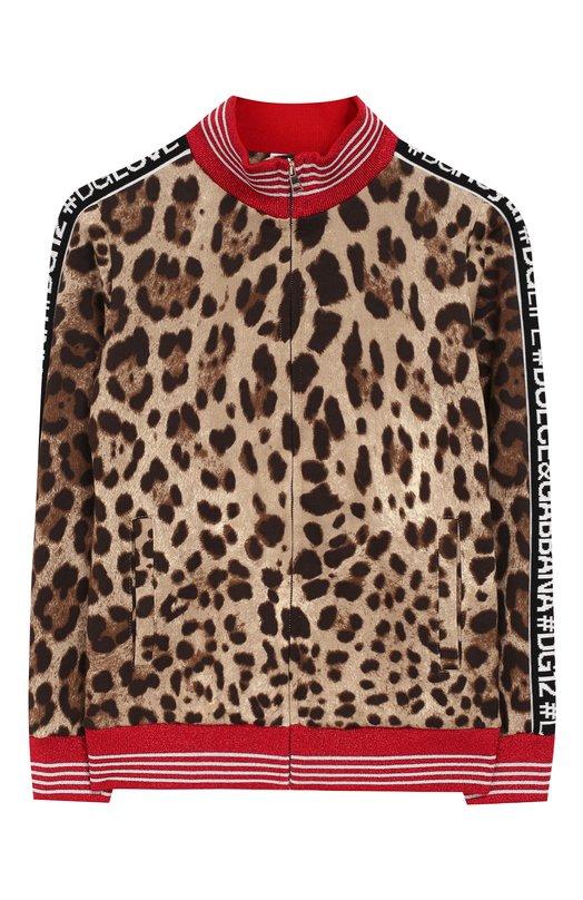 Купить Хлопковый кардиган на молнии с воротником-стойкой Dolce & Gabbana, L5JWT2/G7QEN/8-14, Италия, Коричневый, Хлопок: 100%;