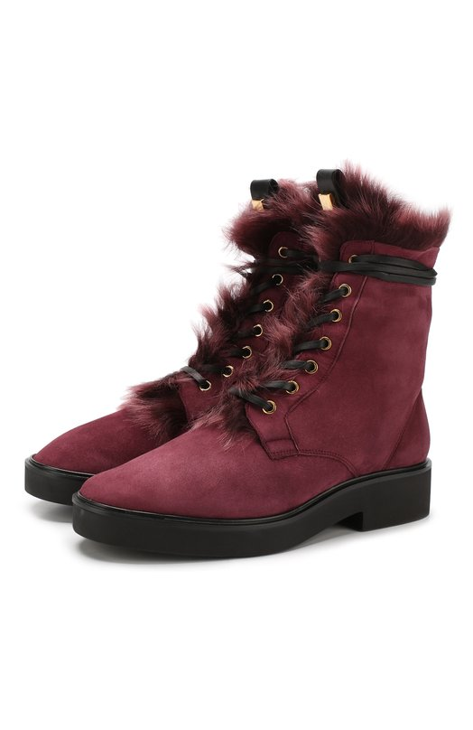 Купить Высокие замшевые ботинки Jissika с внутренней отделкой из овчины Stuart Weitzman, YL98827, Испания, Бордовый, Подошва-резина: 100%; Подкладка-мех/овчина/: 100%; Кожа: 100%; Низ-кожа: 100%;