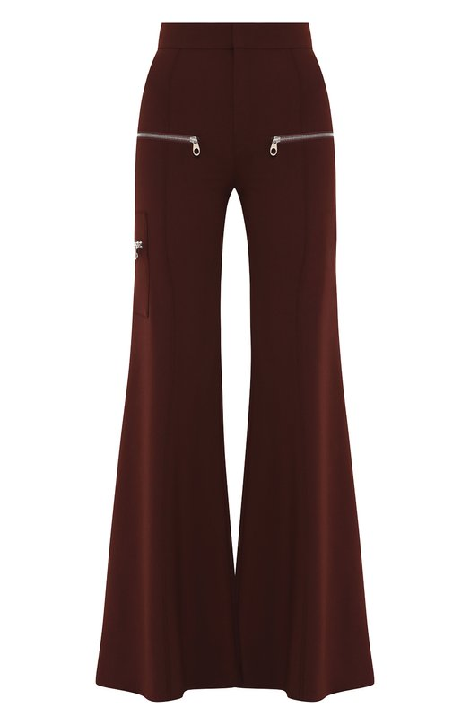 Купить Расклешенные шерстяные брюки с декоративными молниями Chloé, CHC18WPA09062, Франция, Бордовый, Шерсть: 95%; Эластан: 5%;