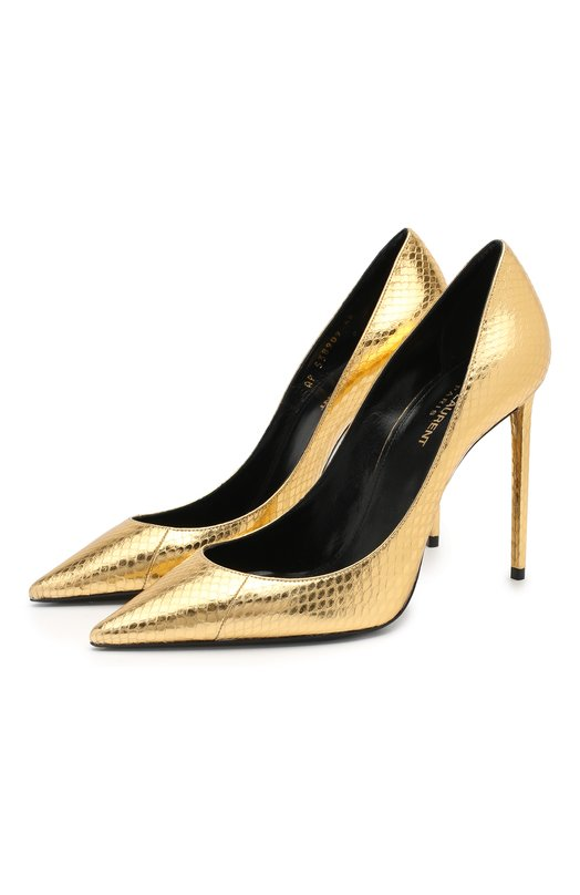 Туфли Zoe из металлизированной кожи с тиснением Saint Laurent Saint Laurent