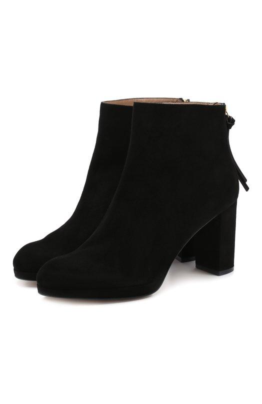 Купить Замшевые ботильоны Martine на устойчивом каблуке Stuart Weitzman, YL99177, Испания, Черный, Подошва-кожа: 100%; Подкладка-кожа: 100%; Кожа: 100%; Низ-кожа: 100%;