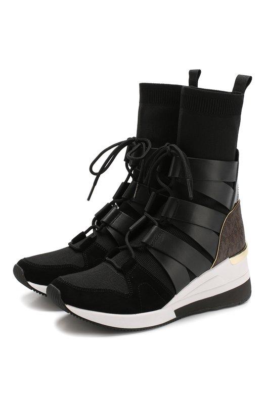 Купить Высокие текстильные кроссовки Beckett на шнуровке MICHAEL Michael Kors, 43F8BKFE7D, Китай, Черный, Подошва-резина: 100%; Текстиль: 100%; Подкладка-текстиль: 100%; Низ-текстиль: 100%;