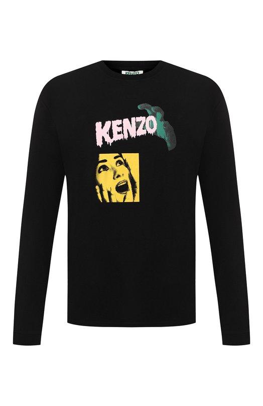 Купить Хлопковый лонгслив с принтом Kenzo, 5TS1184SF, Португалия, Черный, Хлопок: 100%;