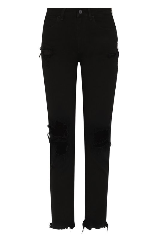 Купить Укороченные джинсы с потертостями Denim X Alexander Wang, 4D994276BX, Турция, Черный, Хлопок: 100%;