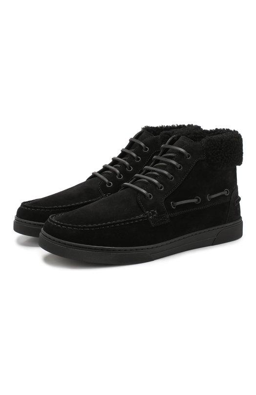 Купить Замшевые ботинки с внутренней меховой отделкой Saint Laurent, 530485/BT3J0, Италия, Черный, Подошва-Резина: 100%; Подкладка-Мех натуральный: 100%; Кожа: 100%; Низ-Мех натуральный: 100%;