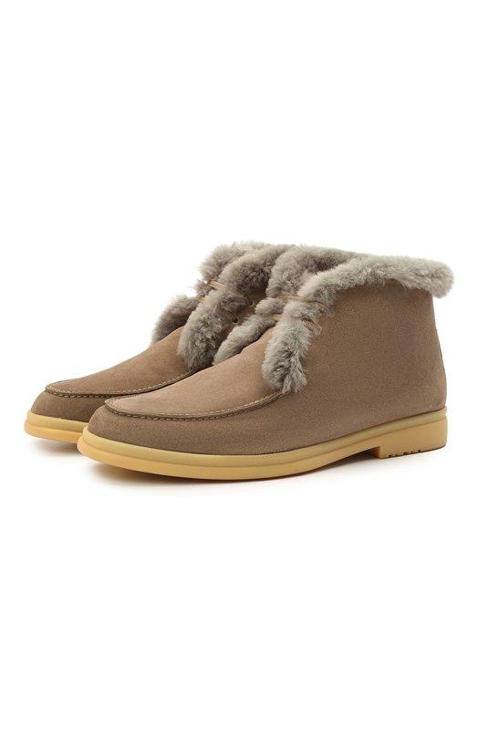 Купить Замшевые ботинки Walk And Walk с внутренней меховой отделкой Loro Piana, FAE5014, Италия, Темно-бежевый, Замша натуральная: 100%; Кожа: 100%; Низ-мех/бобер/: 100%; Подкладка-мех/бобер/: 100%; Подошва-Резина: 100%; Стелька-бобер: 100%;