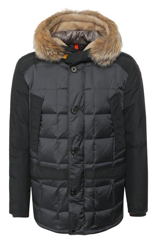 Купить Пуховая куртка на молнии с капюшоном Parajumpers, ML03/CLIFF, Вьетнам, Серый, Наполнитель-Гусиный пух: 90%; Полиамид: 72%; Полиуретан: 28%; Подкладка-Полиамид: 100%; Отделка капюшона-Мех/койот/: 100%;