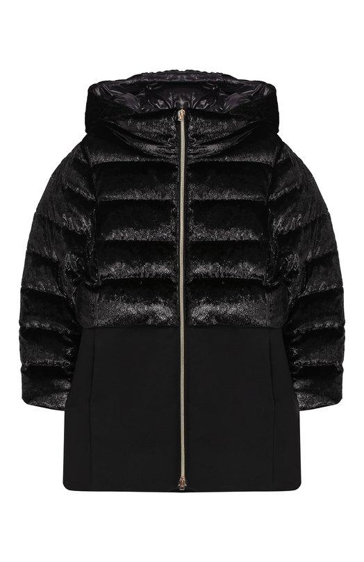 Купить Пуховое пальто на молнии с капюшоном Herno, PI0064G/33600/4A-8A, Румыния, Черный, Наполнитель-гусиный пух: 80%; Хлопок: 43%; Шерсть: 33%; Полиамид: 24%; Наполнитель-гусиное перо: 20%; Подкладка-полиамид: 100%;