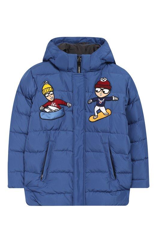 Купить Пуховая куртка на молнии с капюшоном Dolce & Gabbana, L4JBV7/G7QBC/8-14, Италия, Синий, Наполнитель-гусиный пух: 70%; Наполнитель-утиное перо: 30%; Полиэстер: 100%; Подкладка-полиамид: 100%;
