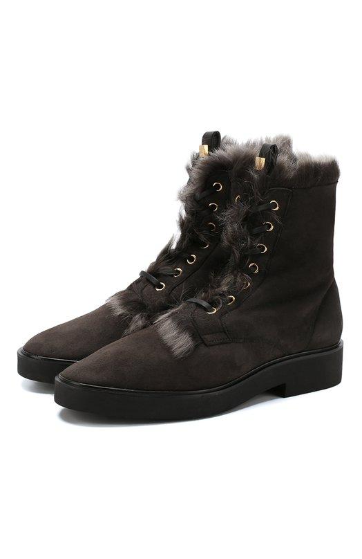 Купить Высокие замшевые ботинки Jissika с внутренней отделкой из овчины Stuart Weitzman, YL99232, Испания, Серый, Подошва-резина: 100%; Подкладка-мех/овчина/: 100%; Кожа: 100%; Низ-кожа: 100%;