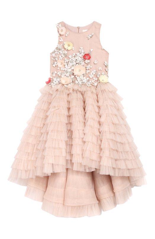 Купить Платье с асимметричным подолом и аппликациями Mischka Aoki, FW18402/6-8, Индонезия, Розовый, Полиамид: 100%;