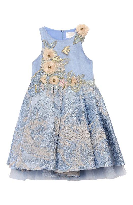 Платье-миди с вышивкой бисером и аппликацией Mischka Aoki