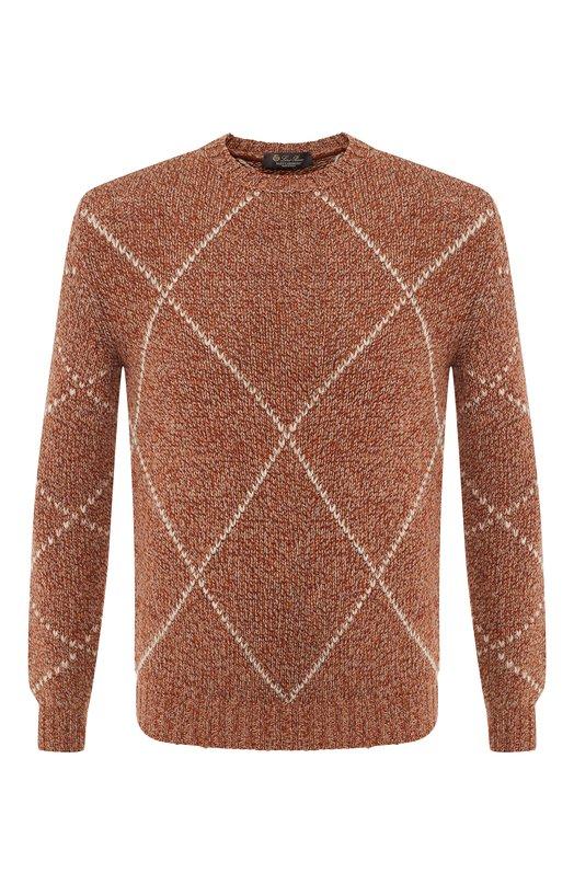 Купить Кашемировый свитер с принтом Loro Piana, FAI2905, Италия, Коричневый, Кашемир: 100%;