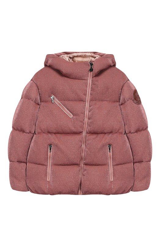 Купить Куртка на молнии с капюшоном Moncler Enfant, D2-954-46882-05-829DD/8-10A, Молдова, Светло-розовый, Вискоза: 63%; Металлизированное волокно: 21%; Полиамид: 16%; Подкладка-полиамид: 100%; Наполнитель-гусиный пух: 100%;