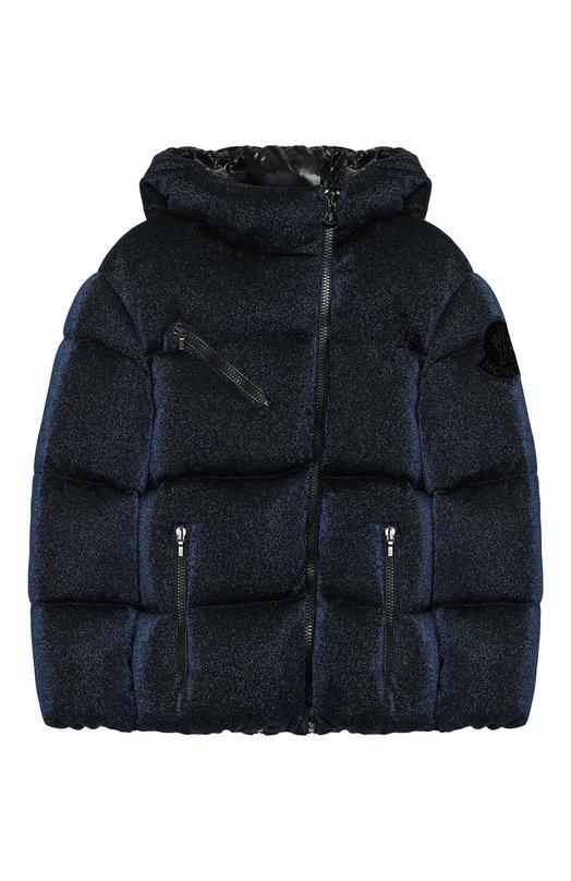Купить Куртка на молнии с капюшоном Moncler Enfant, D2-954-46882-05-829DD/12-14A, Молдова, Темно-синий, Вискоза: 63%; Металлизированное волокно: 21%; Полиамид: 16%; Подкладка-полиамид: 100%; Наполнитель-гусиный пух: 100%;
