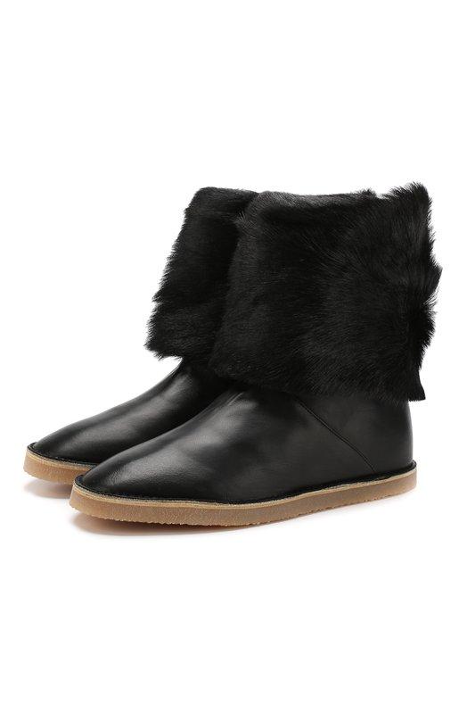 Купить Кожаные сапоги Nata с отделкой из овчины Stuart Weitzman, YL99163, Испания, Черный, Подкладка-мех/овчина/: 60%; Подкладка-кожа: 40%; Подошва-резина: 100%; Кожа: 100%; Низ-кожа: 100%;