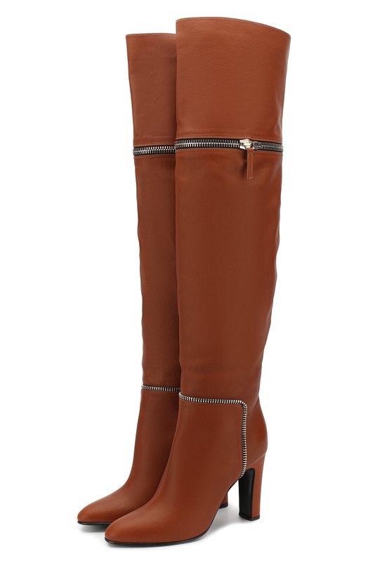 Купить Кожаные ботфорты Joana Giuseppe Zanotti Design, I880025/003, Италия, Коричневый, Подошва-кожа: 70%; Подошва-резина: 30%; Подкладка-кожа: 100%; Кожа: 100%; Низ-кожа: 100%;