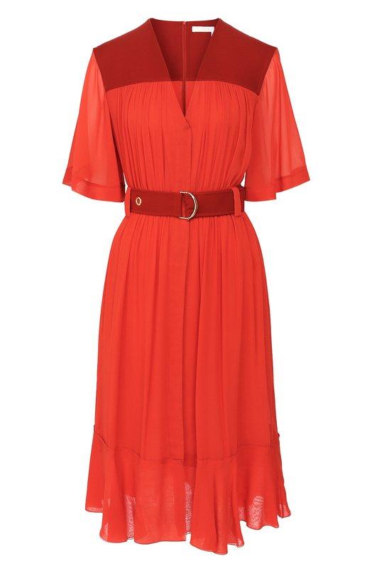 Купить Платье-миди с поясом и V-образным вырезом Chloé, CHC18AR045001, Франция, Красный, Ацетат: 57%; Полиамид: 22%; Шелк: 21%;