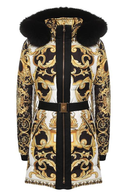 Купить Пуховик с поясом и принтом Versace, A80274/A226729, Италия, Разноцветный, Наполнитель-гусиный пух: 80%; Наполнитель-гусиное перо: 20%; Полиэстер: 100%; Подкладка-текстиль: 100%; Отделка капюшона-мех/лисица/: 100%;