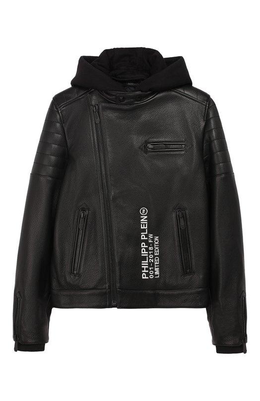 Купить Кожаная куртка с косой молнией и капюшоном Philipp Plein, A18C BLB0108 PLE096N/12-16, Турция, Черный, Подкладка-текстиль: 100%; Кожа: 100%;