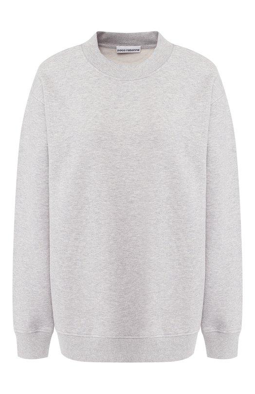 Купить Хлопковый пуловер с круглым вырезом Paco Rabanne, 18HJT0745C00002, Португалия, Серый, Хлопок: 100%;