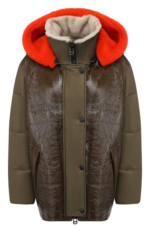 Купить Куртка с меховой подкладкой Army Yves Salomon, 9WFV06076NY4W, Франция, Хаки, Наполнитель-гусиный пух: 90%; Полиэстер: 100%; Подкладка-мех/овчина/: 100%; Подкладка-мех/овчина/: 100%; Наполнитель-гусиное перо: 10%;