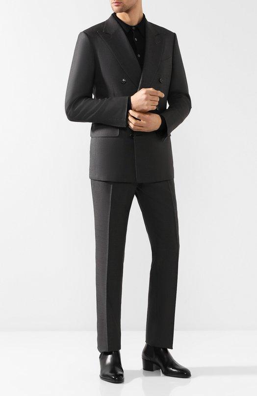 Костюм с двубортным пиджаком из смеси шерсти и шелка Tom Ford