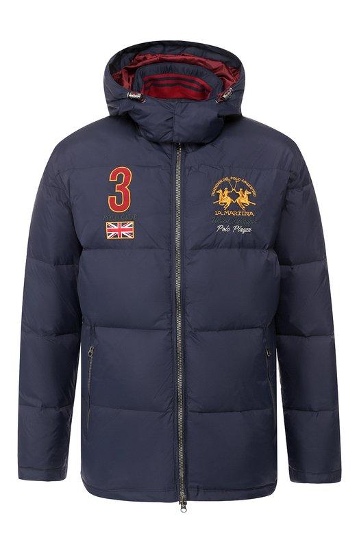Купить Пуховая куртка на молнии с капюшоном La Martina, MM0303/PA003, Китай, Темно-синий, Наполнитель-гусиный пух: 80%; Наполнитель-гусиное перо: 20%; Полиамид: 100%; Подкладка-полиэстер: 100%;