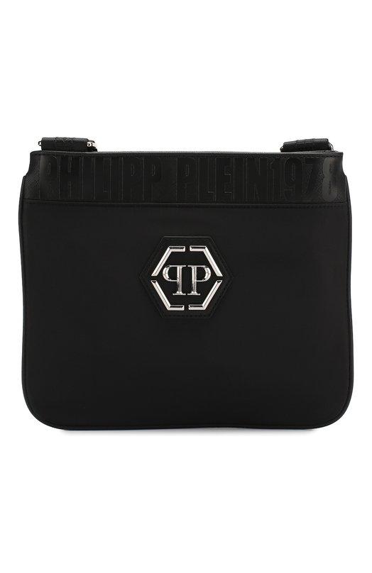 Купить Текстильная сумка с логотипом бренда и плечевым ремнем Philipp Plein, A18A MBA0569 PTE003N, Китай, Черный, Полиамид: 70%; Полиуретан: 30%;