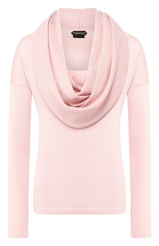 Купить Однотонный кашемировый пуловер с объемным воротником Tom Ford, MAK828-YAX087, Италия, Светло-розовый, Кашемир: 100%;