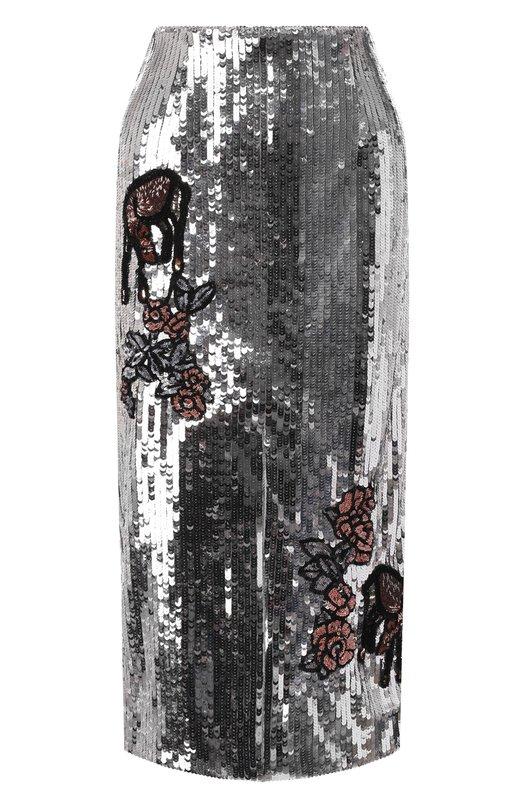 Купить Юбка-миди с пайетками и разрезом Markus Lupfer, SK419, Индия, Серебряный, Полиамид: 100%;