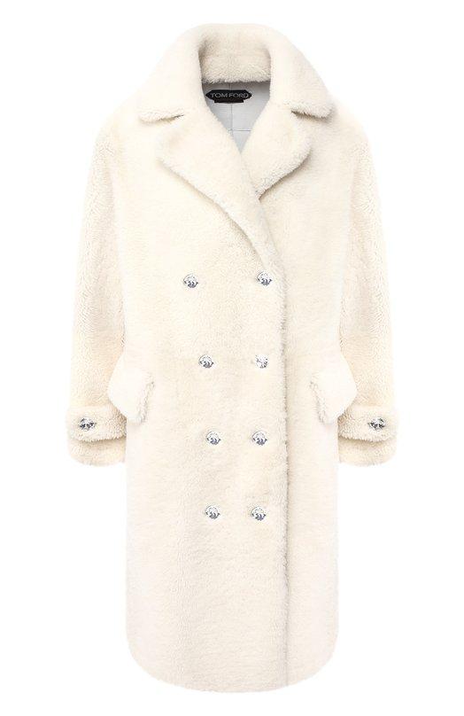 Купить Двубортное пальто из овчины Tom Ford, CPF656-FUX085, Италия, Белый, Подкладка-шелк: 50%; Подкладка-вискоза: 50%; Мех/овчина/: 100%;