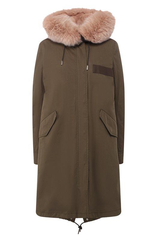 Купить Утепленная парка с меховой подкладкой Army Yves Salomon, 9WFM06694R91X, Франция, Хаки, Наполнитель-утиный пух: 90%; Хлопок: 71%; Полиамид: 29%; Подстежка/кролик/: 100%; Подкладка-мех/кролик/: 100%; Отделка капюшона-мех/песец/: