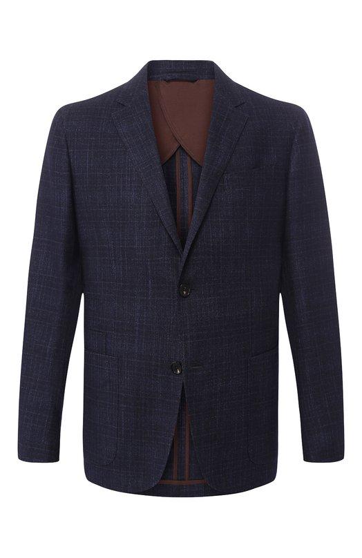 Купить Однобортный пиджак из смеси шерсти и шелка Ermenegildo Zegna, URC21/TLR, Италия, Синий, Шерсть: 86%; Кашемир: 4%; Шелк: 10%;