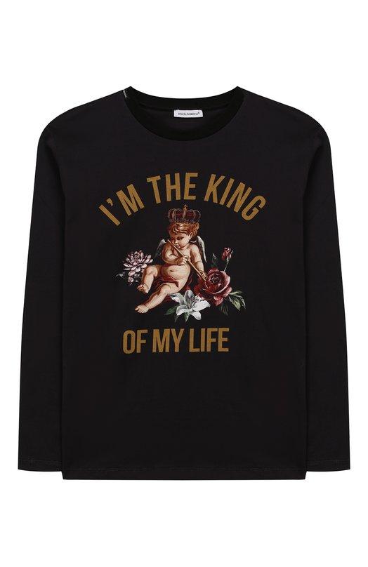 Купить Хлопковый лонгслив с принтом Dolce & Gabbana, L4JT9V/G7Q0I/8-14, Италия, Черный, Хлопок: 100%;