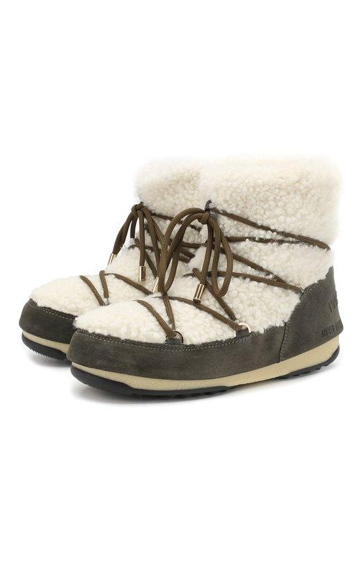 Купить Замшевые ботинки Yves Salomon x Moon Boot с отделкой из овчины Yves Salomon, 9WAC167XXMRMX, Италия, Хаки, Мех/овчина/: 60%; Кожа: 40%; Низ-мех/овчина/: 100%; Подкладка-мех/овчина/: 100%; Подошва-резина: 100%;