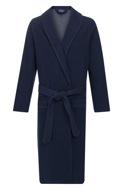 Хлопковый халат с поясом BOSS, 50396876, Китай, Синий, Хлопок: 100%;  - купить