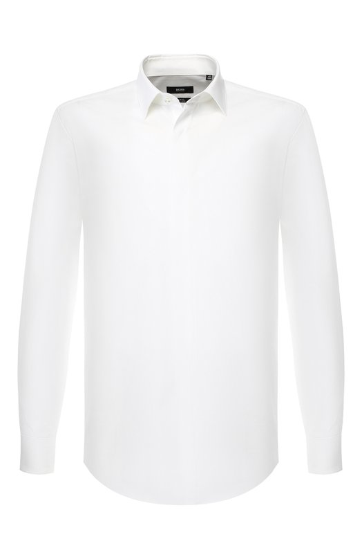 Купить Хлопковая сорочка с воротником кент BOSS, 50399362, Турция, Белый, Хлопок: 100%;