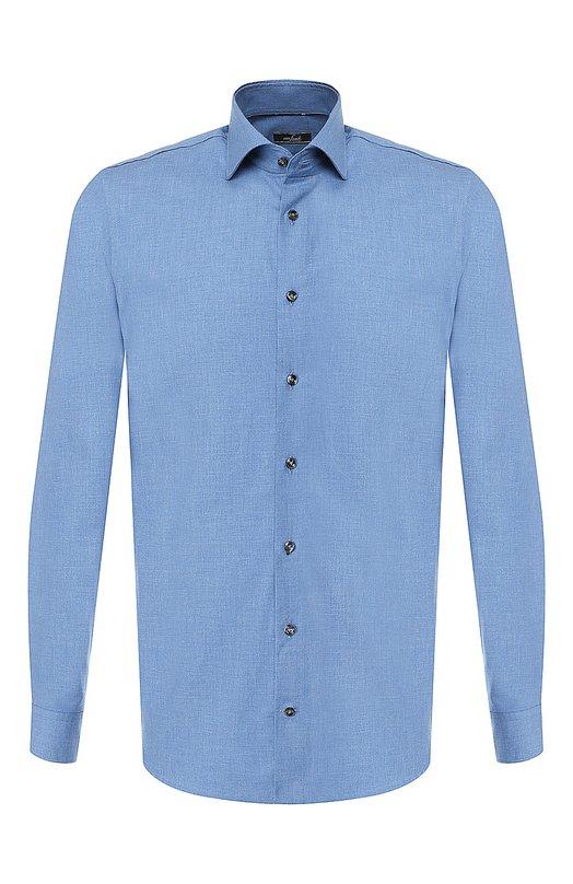Купить Хлопковая рубашка с воротником кент Van Laack, TIVARA2-SF02/155026, Тунис, Синий, Хлопок: 100%;