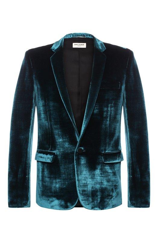 Купить Однобортный пиджак из смеси вискозы и хлопка Saint Laurent, 531258/Y098T, Италия, Бирюзовый, Вискоза: 60%; Хлопок: 40%;