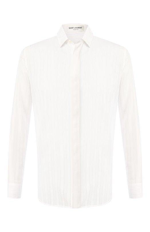 Купить Хлопковая рубашка с воротником кент Saint Laurent, 564172/Y034U, Италия, Белый, Хлопок: 100%;
