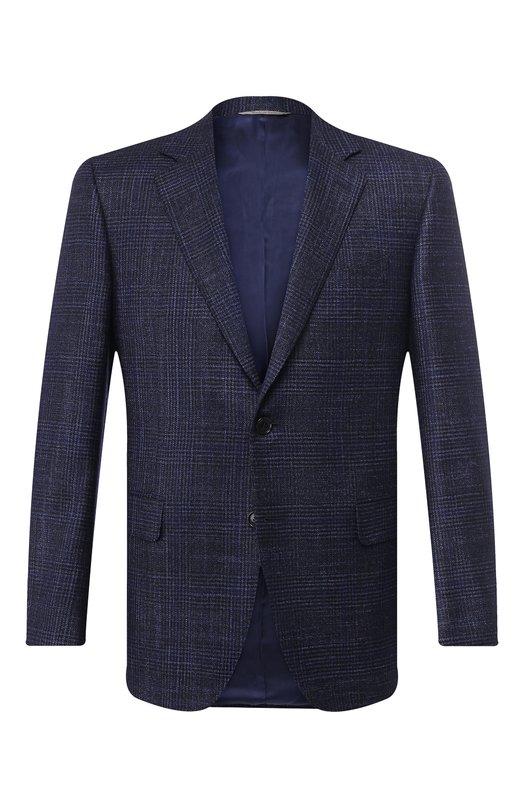 Купить Однобортный пиджак из смеси шерсти и шелка Canali, 11280/CF01752/112/TL, Италия, Темно-синий, Шерсть: 86%; Кашемир: 4%; Шелк: 10%;