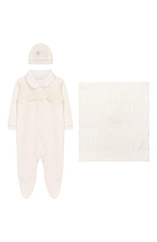 Купить Комплект из хлопкового комбинезона и шапки с одеялом La Perla, 48736, Италия, Бежевый, Хлопок: 100%;