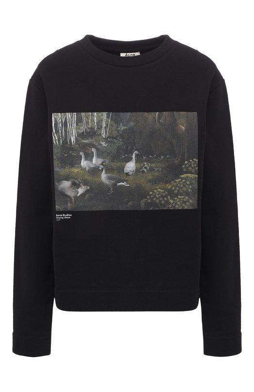 Купить Хлопковый пуловер с принтом Acne Studios, 1HH182/W, Португалия, Черный, Хлопок: 100%;