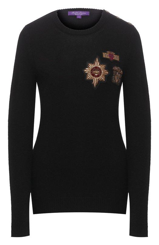 Купить Кашемировый пуловер с декоративной отделкой Ralph Lauren, 290732711, Италия, Черный, Кашемир: 100%;